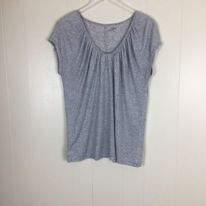 Ann Taylor Loft Short Sleeve Grey Women's Top